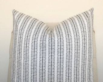 White and Black Abstract Stripe Pillow Cover