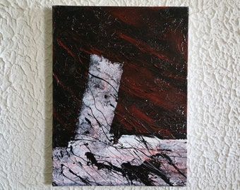 Peinture abstraite - abstract painting /  White, black, red,  / Petite peinture - Small painting