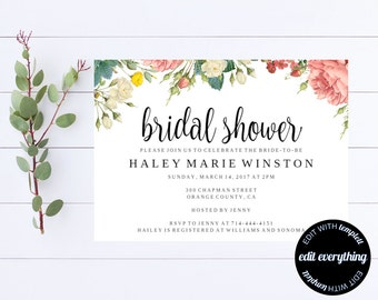 Bridal Shower Invitation - Floral Bridal Shower Invite - Printable Invite Wedding Shower - Printable Bridal Invitation - Floral Invitation