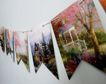 Thomas Kinkade Upcycled Bunting Nature bunting Party decor bunting Book Page Bunting Thomas Kinkade Pennant