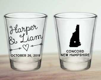 Custom New Hampshire Wedding Favor Shot Glasses