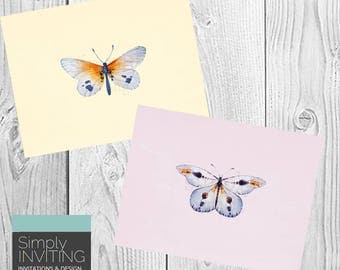 Watercolor Butterfly Note Card Set / Printed Cards, Stationery, Thank You Cards, Bridal Shower, Unique Gifts, Fun Greeting Cards