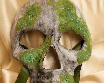 Venetian Style Mossy Half Skull Mask
