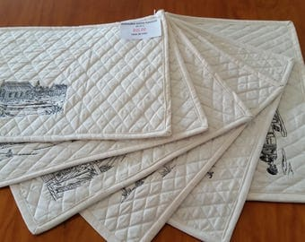 Handmade Quilted Embroidered Australiana Placemats