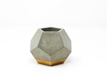 Dodecahedron Planter: Gold