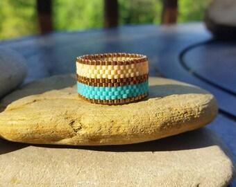 Seed Bead Ring Handmade Ring Peyote Ring Delica Seed Bead Ring Beaded Ring Delica Ring Beaded Band Ring Peyote Beaded Ring Seed Bead Ring