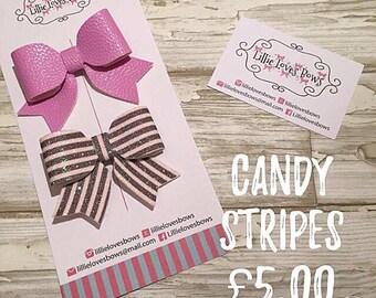 Candy stripes hair bows