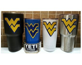 YETI - Authentic - WVU West Virginia Mountaineers Yeti Cup 20 oz 30 oz Rambler Tumbler Large Mug Wvu fan student custom grad gift 20oz 30oz