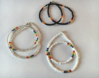 PRIDE glass bead necklace