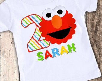 Elmo Inspired custom designed birthday t shirt tshirt personalized