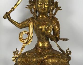 Chinese Art Gold Gilt Bronze Sitting Quanyin