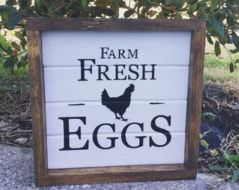 Rustic Farm Fresh Eggs Wooden Sign