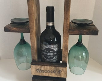Rustic Wine Caddy, Wine Carrier, Wine Tote, Housewarming Gift, Wine Gift, Wedding Gift, Home Decor