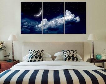 Sky Moon Night- split framed canvas print