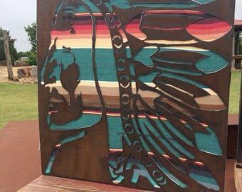 Chief, Buffalo or Tepee Metal and Serape Signs