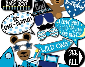 Boy's 1st Birthday Photo Booth Props - 31 Printable Props, First Birthday Cake, Teddy Bear, Hat, Glasses - INSTANT DOWNLOAD PDF