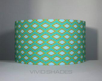 Navajo / Aztec fabric light / lampshade handmade by vivid shades, modern retro abstract stylish kilim geometric custom made