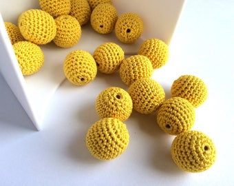 Set of 20 Crochet beads 17 mm Wooden crochet cotton beads Round beads Necklaces Hand made teething crochet wooden beads Crocheted bead