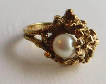 Vintage Antique UNCAS 18 kt HGE 6mm Pearl Art Deco Floral Design Ring Sz 7