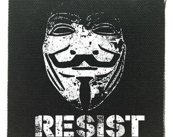 Guy Fawkes Resist Cloth Patch, Guy Fawkes Punk Patch, Raw Edge Patch, Political Patches, Protest Patches,Black Punk Cloth Patch Jacket Patch