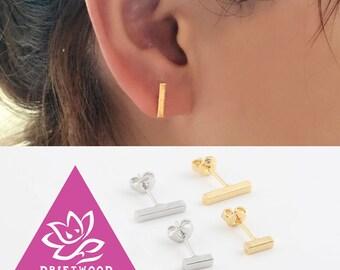 2pcs /1 paire boucles d'oreilles titane barre L 5/10/15 mm minimaliste géométrique Stud ligne hypoallergénique peau sensible argent or