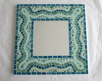 Blue-green mosaic mirror