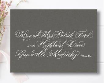 "Calligraphy Envelope, Wedding Envelope CalligraphyAddressing, Handwritten Custom Calligraphy Envelopes, ""Elaina"" Style"