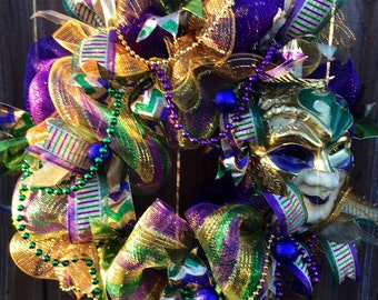 Mardi Gras Wreath,Jester Mask Wreath, Fat Tuesday Wreath, Mardi Gras Decor, Mardi Gras Decoration, Deco Mesh Mardi Gras Wreath, Mardi Gras