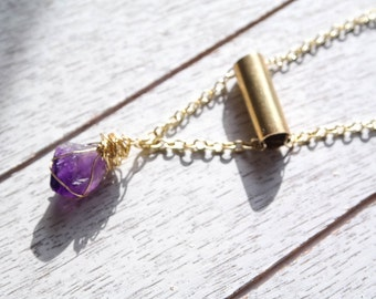 Raw Amethyst Gold Wire Wrapped Clasp-less Bullet Pendant Necklace