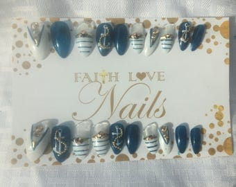 Nautical Anchor Press On Nails | Fake Nails | False Nails | Reusable Nails | Hand Painted Nail Art | Press On Stiletto Nails
