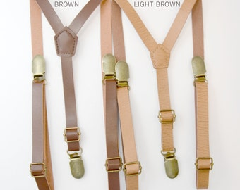 Vintage Style 1/2 inch Skinny SUSPENDERS / Faux Leather Brown Rustic Suspenders brass clasps /  Groom  Mens Kids Baby - Adult Suspenders