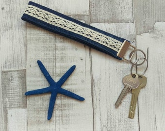 Dark Blue With Lace Recycled Denim Wristlet Keyfob