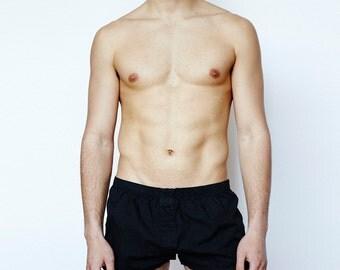 Mens Short Boxer Underwear - Black
