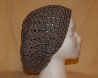 Grey V-Stich Crocheted Slouchy Beanie