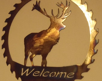 "Deer Welcome Sawblade, Metal Art - HEAT COLORED, 23.5"" (60 cm)"