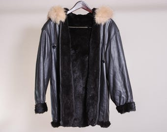 Super Soft Brown Pleather and Faux Fur Bomber Jacket with Faux Fur Hood
