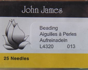 Size 013 Beading Needles, Pack of 25 by John James - TOOL-009