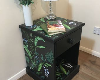 SOLD SOLD Shabby Chic Black Wildflower Bedside Cabinet Table