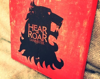 Game Of Thrones Hand Made Wooden 'Hear me roar' LANNISTER sign