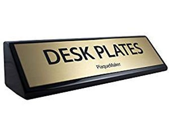 desk name plates wedge black piano finish 8 x 2