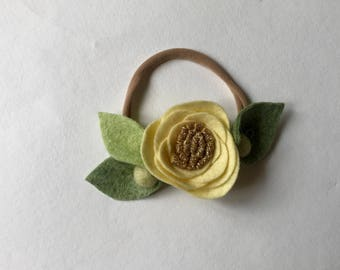 LEMON// single flower headband// felt flower