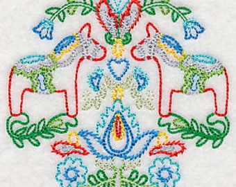 Swedish Folk Dala Horses with floral detail Embroidered Kitchen Towel