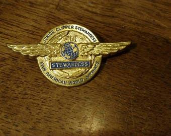 Vintage Circa 1960 Pan American World Airways Junior Clipper Stewardess Wings Pin