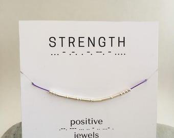 Strength Morse Code Bracelet, Friendship bracelet, custom morse code bracelet, -Sterling Silver