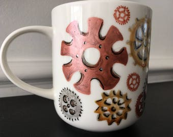 Steampunk Mug.  Clink, clank, clunk - cogs and wheels turning!