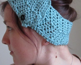 Blue Buttoned Crocheted Headwrap