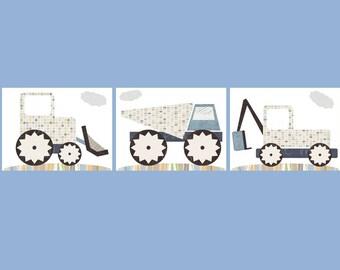 Construction Nursery Boy Wall Prints - Digger, Dump Truck, Excavator