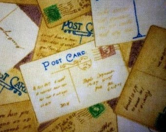 Cotton Fabric Quilting Vintage Postal Cards