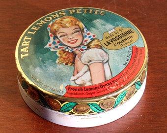 Vintage Lavosgienne   French Tart Lemon Drops   Candy Tin