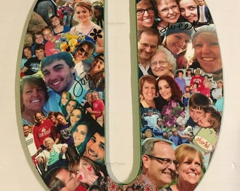 """Mod Podge 18"""" Photo Collage Letters & Numbers. Wedding Gift, Birthday Present, Dorm Room. Homey and perfect for all occasions"""